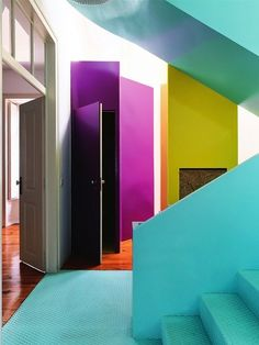 scandinaviancollectors: Color block interior from Elle Decor UK July 2012. Photograph by Christian Schaulin. / Arkpad