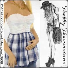 "Abercrombie Sexy Sweetheart Babydoll Top Such a playfully sexy, yet sweet and feminine top by Abercrombie featuring a full white bust with sweetheart neckline, rouching down the center with button details. ruffle trim at the neckline, and of course the gorgeous ""skirt"" of the top in a pretty blue and white plaid - fully lined with some fullness to it. Simply gorgeous! No longer available in stores or on line. Size XS - may fit a XS/S size woman due to stretch.  Length: 22 inches Abercrombie…"