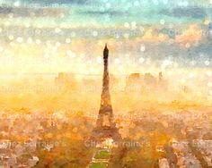 Early Paris Morning:  A Fine Art Shabby Chic Watercolor Reproduction Photographic Print Featuring the Eiffel Tower