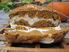 Pumpkin and Cream Bread  Yield: 2 loaves (14 slices each)  Batter:  1-1/2 c. pureed pumpkin  1/2 c. unsweetened applesauce  1 whole egg  3 egg whites  1 c. all-purpose flour  2/3 c. whole wheat flour  1/2 c. Stevia Cup For Cup sweetener  1/2 c. granulated sugar  1 t. baking soda  1/2 t. ground cinnamon  1/2 t. ground nutmeg    Cream filling  8 oz. reduced fat cream cheese  1/4 c. granulated sugar  1 T. all-purpose flour  2 egg whites  1 t. vanilla extract