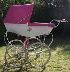 Pink and White Pram Vintage Stroller, Vintage Pram, Vintage Dolls, Umbrella Stroller, Pram Stroller, Baby Strollers, Pink Prams, Baby Prams, Silver Cross Prams
