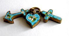 Victorian Micro Mosaic Faith Hope Charity Charm