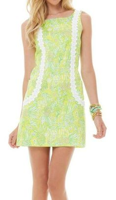 "Lilly Pulitzer ""Sweet Tart Yellow Crazy Cat House"" print Liz shift."