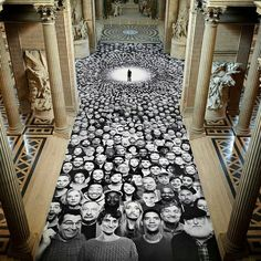 JR Artist canvasses the pantheon in #paris with portraits from around the globe: The amassed black-and-white images create a mosaic that covers the building's dome, drum and floor, creating a photographic runway down the center of the site.