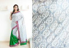 Silk Sarees - White based Raw silk patli pallu multi coloured hand screen printed saree PC 16646 - Main