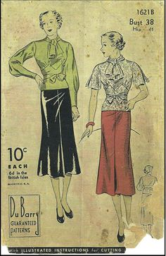 1930s Ladies Day Dress with Collar Ties Sewing Pattern - Du Barry #1621B
