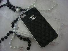 I want this!!  Luxury CC iPhone 4 4s Black quilted leather Chrome Silver Designer case cover GG