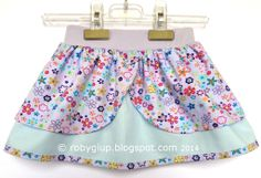 """Girl skirt """"princess style"""" size 6-9months in lilac and light blue with printed flowers - RobyGiup handmade #sewing #girl #skirt"""