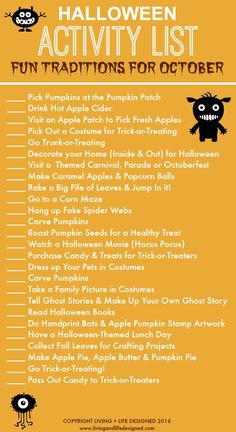 Printable Halloween activities to tackle in the month of October. Fun ideas, activities, and memorable experiences before Halloween