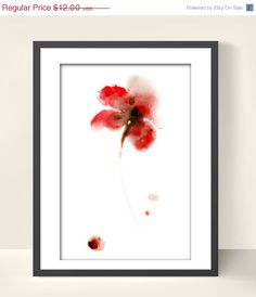 HOLIDAY SALE Red Flower Watercolor Painting Art Print 6x9 Floral Wall Art Decor Abstract #etsy #watercolor