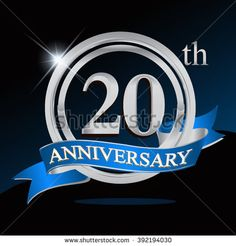 20th anniversary logo with blue ribbon. 20 years anniversary signs illustration…