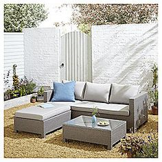 Tesco San Marino Rattan L Shaped Sofa Garden Lounge Set, Grey