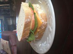 Amazing sandwich - roast chicken with cheese, spinach, apples, mayo and Dijon honey mustard on rye bread. Sooo good!!