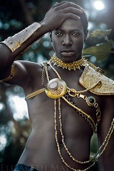fr aime ce collier plastron chaine or style ethnique tendance tribale chic plastron statement necklace nubian-naija: African Prince-- im just sayin lets find this dude!