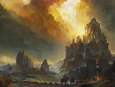 Cenários e paisagens de fantasia nas ilustrações de Flavio Bolla