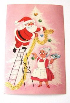New Ideas For Wall Paper Retro Pink Vintage Christmas Vintage Christmas Images, Old Fashioned Christmas, Christmas Past, Retro Christmas, Vintage Holiday, Christmas Pictures, Winter Christmas, Christmas Mantles, Victorian Christmas