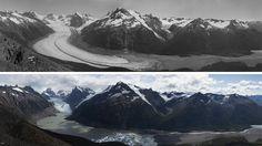 Un fotógrafo italiano, junto a científicos, retrató el derretimiento de los bloques de hielo de la Patagonia y comparó las imágenes con registros históricos
