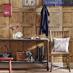 Country hallway with wood-panelling effect wallpaper | Hallway decorating | housetohome.co.uk | Mobile