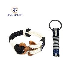 Bran Marion Twisted Dark Blue and White Wood Nautical Bracelet and Keychain Nautical Bracelet, Nautical Jewelry, Marine Rope, Dark Blue, Blue And White, Black, Nautical Fashion, Handmade Accessories, White Wood