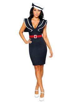 e6678d1b4cd4 Womens Low Cut Sexy Sailor Halloween Costume Sailor Dress, Collar Dress,  Peplum Dress,