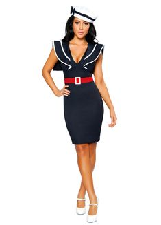 f826df230f0 Womens Low Cut Sexy Sailor Halloween Costume
