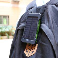 Solar Power Bank Portable external battery pack Dual USB solar charger all USB devices Solar Battery Charger, Battery Indicator, Portable Charger, Solar Power, Solar Energy, Usb, Compass, Larger, Camping