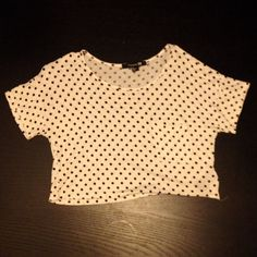 Polka dot crop top Cute little crop top from Forever 21.  White with black polka dots.  Great condition :) Forever 21 Tops Crop Tops