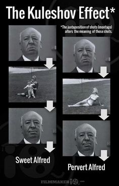 "Now look again, and realize the expression images are the same on each side --- it is the middle image that changes the context in your mind ---> that is ""The Kuleshov Effect"""