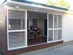Adjustable Shutters - Patio World. Outdoor Shutters, Outdoor Blinds, Wood Shutters, Outdoor Rooms, Outdoor Living, Outdoor Decor, Enclosed Patio, Screened In Patio, Backyard Patio