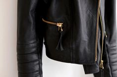 「leather jacket gold zip」の画像検索結果