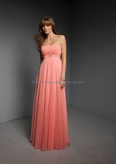 Strapless Evening Dress Prom Dress Long Coral  Orange Chiffon Bridesmaid Dress