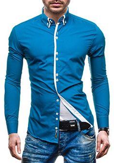Amazon BOLF 4705-1 Blau S  2B2  Herrenhemd Freizeithemd Langarm Slim Fit  Figurbetont Hemd NEW  . Herren Hemden · Klassisch · Blau · Kleidung c5d4cfd1a4