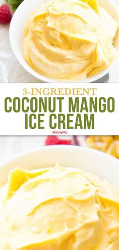 This Coconut Mango Ice Cream is refreshing, flavorful, and so, so cool. This is a healthy frozen dessert you'll want to keep in your freezer all summer long. Mango Ice Cream, Keto Ice Cream, Coconut Cream, Ice Cream Recipes, Healthy Desserts, Dessert Recipes, Vegan Sweets, Appetizer Recipes, Healthy Foods