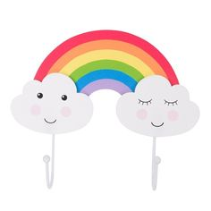 Bring fantasy and fun to your child's bedroom with our day dream rainbow themed double coat hook. Featuring two adorable dreamy clouds joined by a colourful rainbow, this coat hook design will take your little one on a fantasy filled adventure.