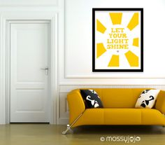 Let your light shine 16x20 print. Yellow Wall art. Typography Print. Home decor. Kids wall art. Gift. By MossyJojo.