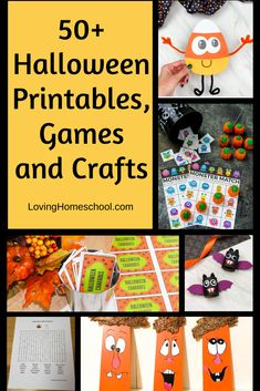 Halloween Printables, Games and Crafts; So many fun ways for families and classes to enjoy Halloween together! #teacherresource #teacher #teacherhalloween #homeschoolhalloween #homeschool #lovinghomeschool #halloween #halloweencrafts #halloweengames