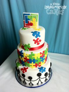 Autism Awareness Cake by A Little Imagination Cakes Tap the link to check out fidgets and sensory toys! Adoption Cake, Adoption Party, Autism Crafts, Autism Awareness Crafts, Bolo Lego, Puzzle Party, Retirement Cakes, Cookie Tutorials, Make Happy