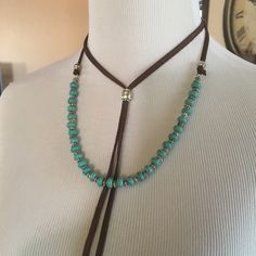 Stunning Boho Turquoise Choker❤️ Stunning boho turquoise leather choker features beautiful turquoise and silver beads. Free People Jewelry Necklaces