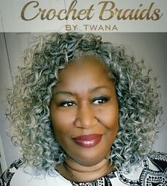 Crochet Braids with Freetress Gogo Curl in color Grey. 2 packs cut in half. 12…
