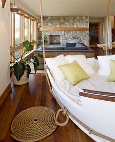 Top Boat Theme Decor Ideas .. check out this cool boat hanging bed & more...
