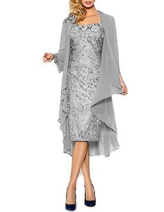 HWAN Lace Mother of the Bride Dresses Formal Gowns with Chiffon Jacket Wraps Bolero: Amazon.co.uk: Clothing
