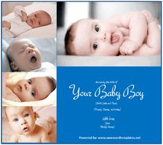 Birth Announcement Template For Boy