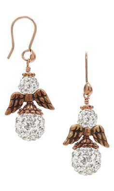 Earrings with Glass Rhinestone, Epoxy and Resin Beads and Antiqued Copper Pewter Beads - Fire Mountain Gems and Beads
