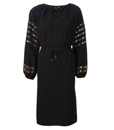 Black peasant dress with gold sequined stripes along the billowed sleeves.