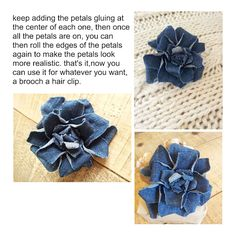 denim roses tutorial - could make a cool centerpiece