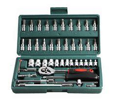 "Promotion! 46pc Spanner Socket Set 1/4"" Car Repair Tool Ratchet Wrench Set Cr-v hand tools Combination Bit Set Tool Kit"