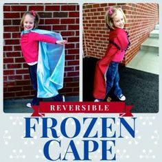 Reversible Frozen Cape: Anna & Elsa. Elastic neckline so they can dress up themselves-- no ties!