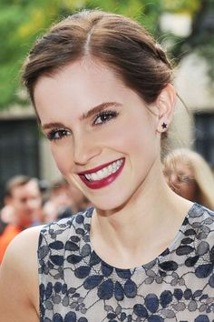 Emma Watson British Actress White Blue Floral Peplum Erdem Dress Braid Updo Berry Lips The Perks of Being a Wallflower Premiere 2012 Toronto International Film Festival