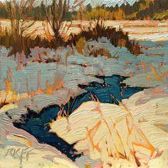 "Daily+Paintworks+-+""Snow+Thaw:+6x6+oil+on+panel""+-+Original+Fine+Art+for+Sale+-+©+Ken+Faulks"