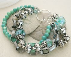 Lampwork Beaded Bracelet- Sea Foam, Beach Wedding, Artisan Chain, Chunky, Charm Bracelet